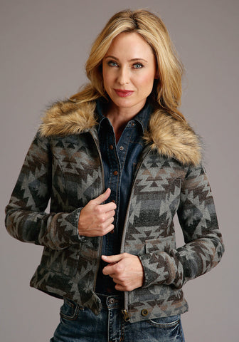 Stetson Womens Grey Aztec Fur Collar Jacket