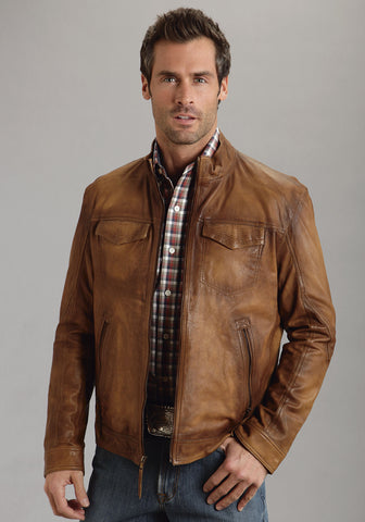 Stetson Mens Brown Burnished Leather Jacket Motorcycle Western Zip Front