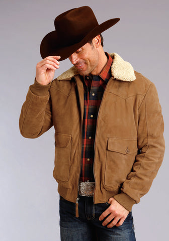 Stetson Mens Brown Leather Antique Suede Jacket