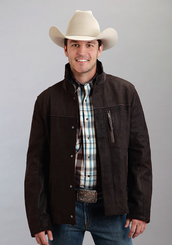 Stetson Mens Brown Leather Lamb Suede Jacket