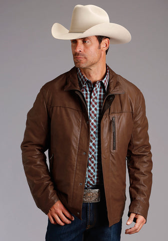 Stetson Mens Brown Lamb Leather Contrast Nappa Jacket