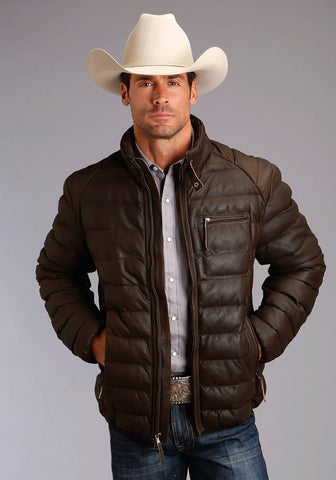 Stetson Mens Dark Brown Leather Puffy Jacket