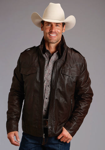 Stetson Mens Brown Leather Western Bomber Jacket