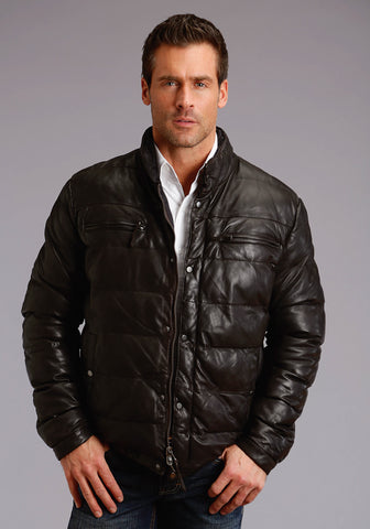 Stetson Mens Dark Brown Leather Puffy Quilted Jacket