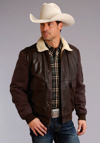 Stetson Mens Dark Brown Leather Canvas Bomber Jacket