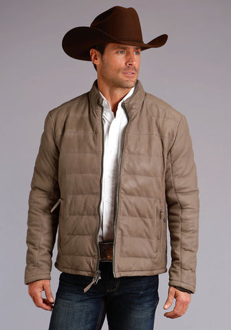 Stetson Mens Taupe Leather Puffy Quilted Jacket