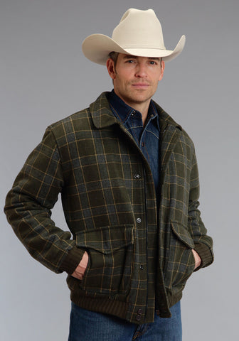 Stetson Olive Plaid Mens Green Wool Blend Western Jacket