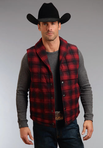 Stetson Check Mate Plaid Mens Red 100% Cotton Vest