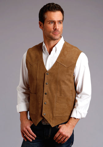 Stetson Western Mens Brown Goat Leather Suede Vest