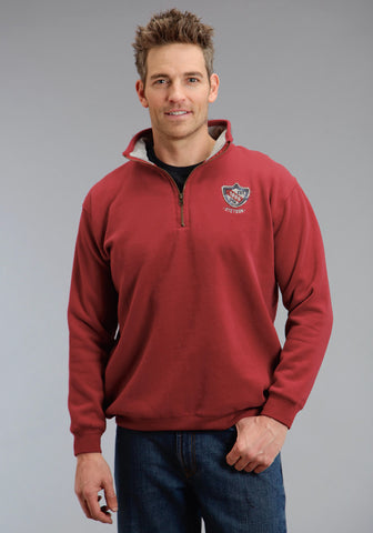 Stetson Mens Red 100% Cotton Zip Logo Shield Sweatshirt
