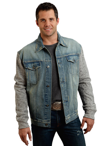 Stetson Mens Blue 100% Cotton Denim Knit Western Jacket
