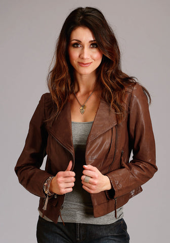 Stetson Womens Brown Leather Moto Style Jacket
