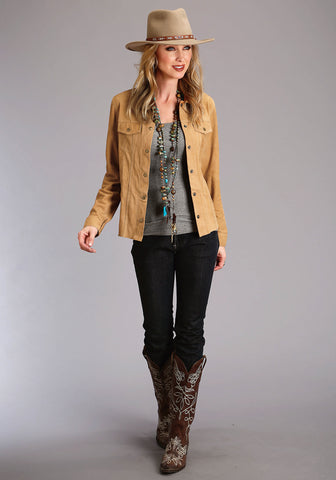Stetson Womens Brown Leather Suede Denim Jacket