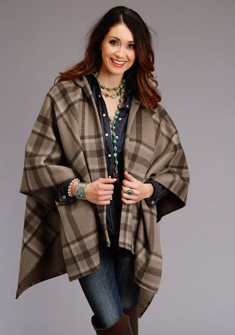 Stetson Womens Rust/Taupe Wool Blend Blanket Wrap Serape Jacket