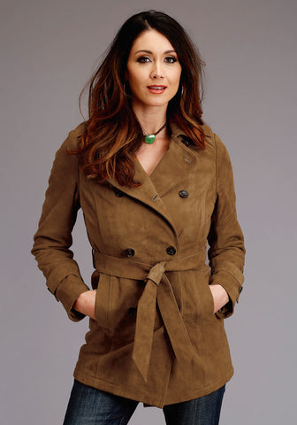 Stetson Trench Womens Tan Leather Thick Suede Jacket