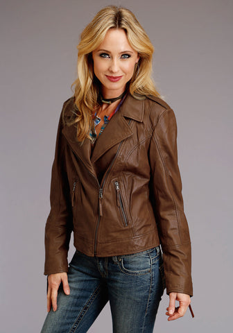 Stetson Womens Brown Leather Motorcycle Jacket