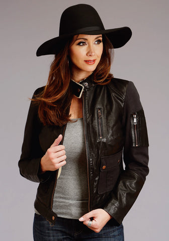 Stetson Womens Black Leather Sherpa Lined Jacket