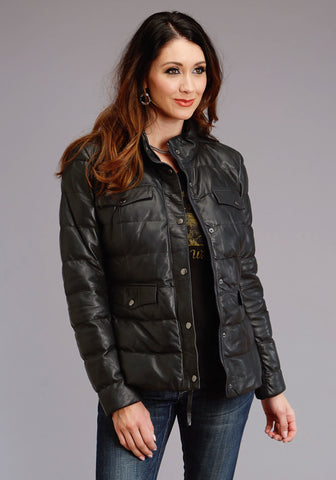 Stetson Womens Navy Lamb Leather Puffy Quilted Jacket