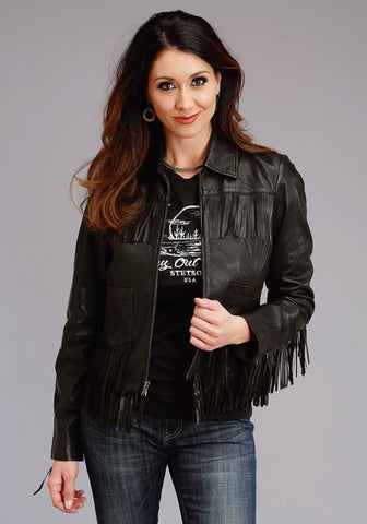 Stetson Womens Black Leather Smooth Fringe Jacket