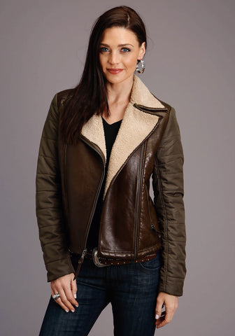 Stetson Womens Dark Brown Leather Motorcycle Jacket