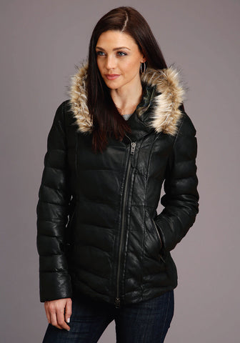 Stetson Quilted Womens Black Leather Faux Fur Jacket