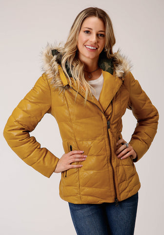 Stetson Hooded Womens Yellow Leather Quilted Jacket