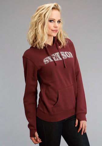 Stetson Womens Wine Cotton Blend White Hoodie
