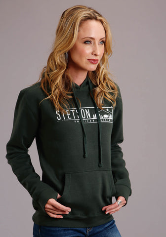 Stetson Womens Hunter Green Cotton Blend Original Hoodie