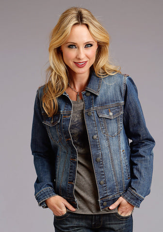 Stetson Womens Blue Cotton Blend Denim Wash Jacket