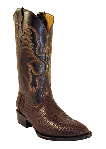 Mens Ferrini Brown Dark Chocolate Teju Lizard Skin Western R Toe Boots