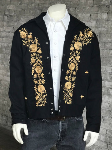 Rockmount Mens Black Cotton Gabardine Vintage Bolero Gold Floral Jacket