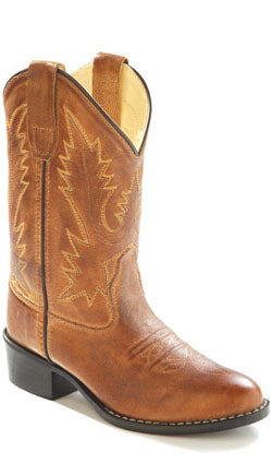 Old West Tan Childrens Boys Corona Calf Leather Round Toe Cowboy Boots