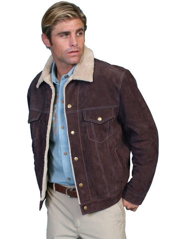 Scully Mens Chocolate Boar Suede Jean Jacket