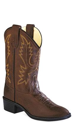 Old West Brown Childrens Boys Corona Calf Leather Round Toe Cowboy Boots