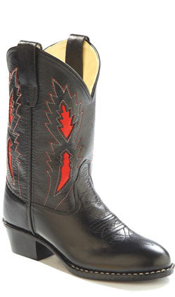 Old West Black Childrens Boys Leather Underlay Round Toe Cowboy Boots