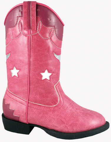 Smoky Mountain Boots Toddler Girls Austin Lights Pink Faux Leather Cowboy