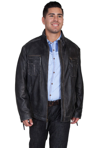 Scully Leather Mens Charcoal Lambskin Zip Front Jacket