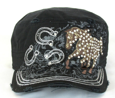 Savana Horse & Horseshoes Black 100% Cotton Army Cap