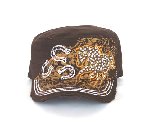 Savana Brown 100% Cotton Ladies Brown Hat Stud Horse Horseshoes