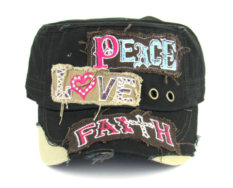 Savana Black 100% Cotton Ladies Black Hat Peace Love Faith