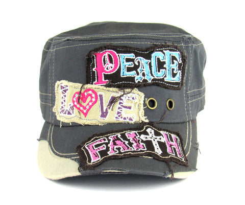 Savana Grey 100% Cotton Ladies Grey Hat Peace Love Faith