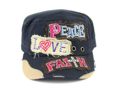 Savana Navy 100% Cotton Ladies Navy Hat Peace Love Faith