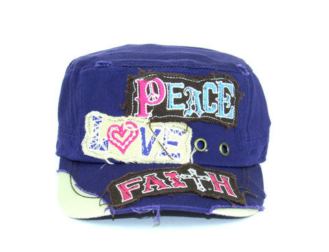 Savana Purple 100% Cotton Ladies Purple Hat Peace Love Faith