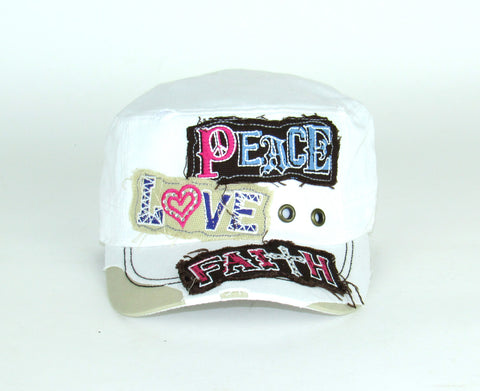 Savana White 100% Cotton Ladies White Hat Peace Love Faith
