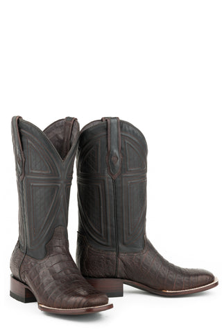 Stetson Kaycee Mens Brown Leather Black Matte Cowboy Boots