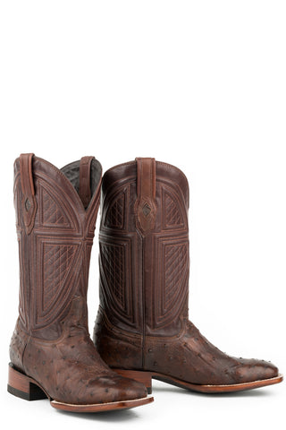 Stetson Jackson Mens Brown Leather 13in Full Ostrich Tobacco Boots