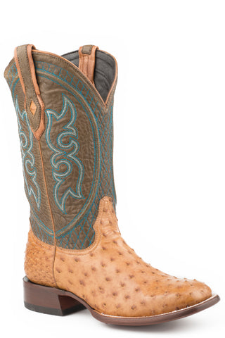 Stetson Mens Green/Antique Ostrich 13In Cowboy Boots