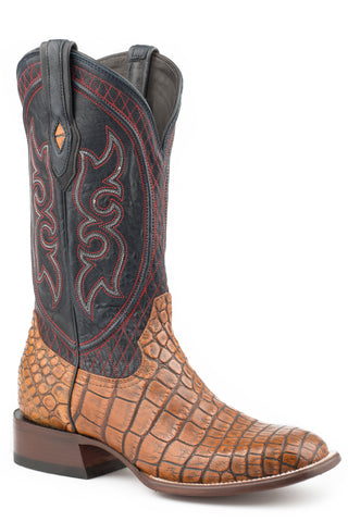 Stetson Mens Blue/Taupe Alligator Roundup Cowboy Boots