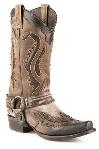 Stetson Mens 13in Snip Toe Harness Brown Bleached Leather Western Cowboy Boots