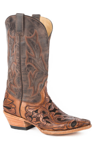 Stetson Tooled Mens Brown Leather Wicks Cowboy Boots